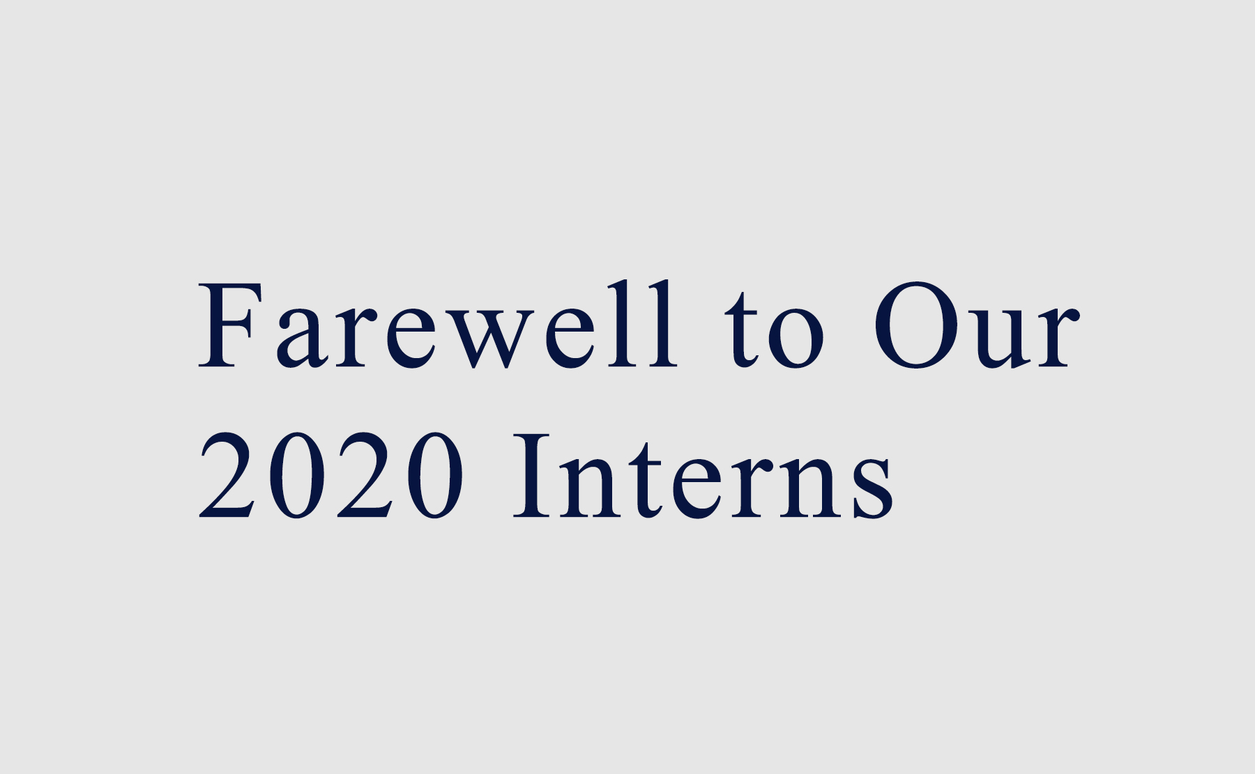 Farewell To Our 2020 Summer Interns